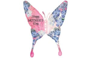 Foil Mother's Day Floral Butterfly Balloon 37in