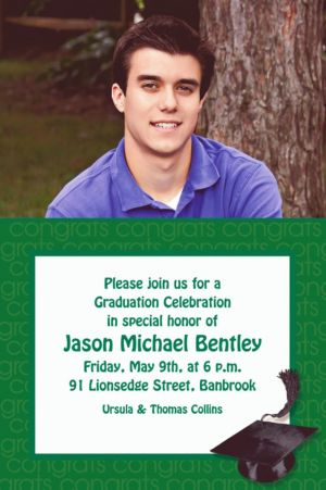 Custom Green Congrats Grad Photo Invitations
