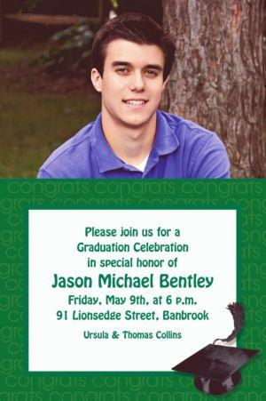 Custom Green Congrats Grad Photo Invitations
