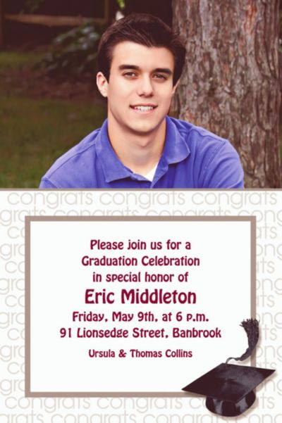 Custom White Congrats Grad Photo Invitations