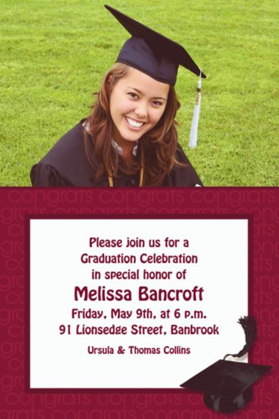 Custom Berry Congrats Grad Photo Invitations