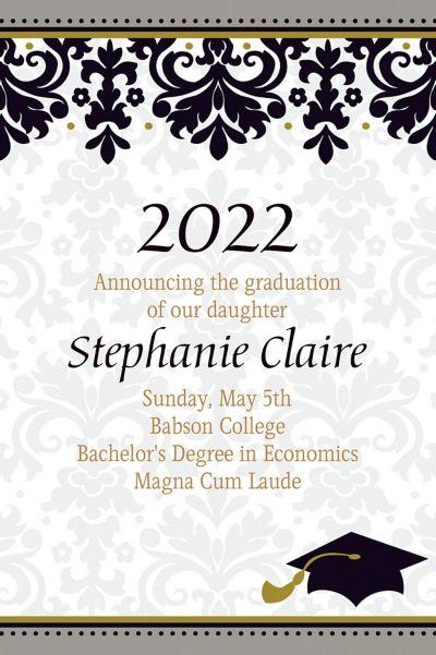 Black & White Custom Graduation Announcement