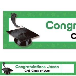 Custom Green Congrats Grad Photo Banner 6ft