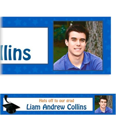 Custom Royal Blue Congrats Grad Photo Banner 6ft