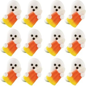 Ghost Candy Corn Icing Decorations 12ct
