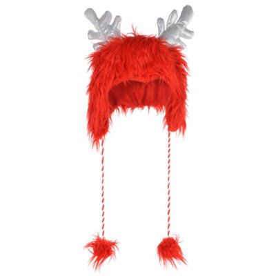 Red Fuzzy Antler Hat