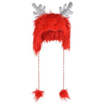 Red Fuzzy Antler Hat