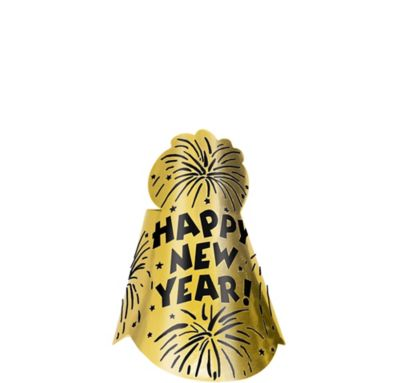 Foil Gold New Year's Cone Hat