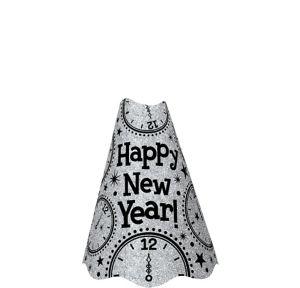 Glitter Silver New Year's Cone Hat
