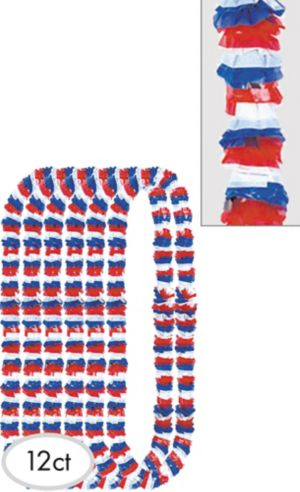 Red White & Blue Patriotic Leis 12ct