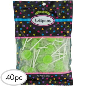 Kiwi Green Lollipops 40pc