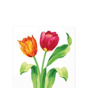 Spring Tulips Beverage Napkins 16ct
