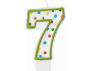 Green Outline Number 7 Birthday Candle