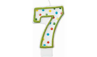 Green Outline Polka Dot Number 7 Candle