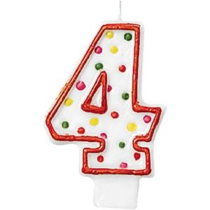 Orange Outline Polka Dot Number 4 Candle