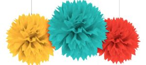 Yellow, Blue & Red Fluffy Decorations 3ct