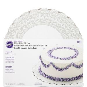 Silver Damask Cake Boards 10ct