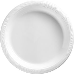 White Plastic Dinner Plates 20ct