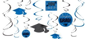 Royal Blue Graduation Swirl Decorations 12ct