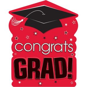 Red Congrats Grad Cutout