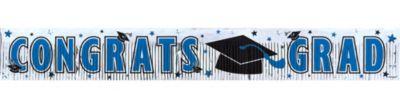 Blue Foil Fringe Graduation Banner