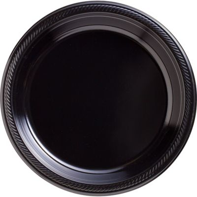 Black Plastic Dinner Plates 20ct