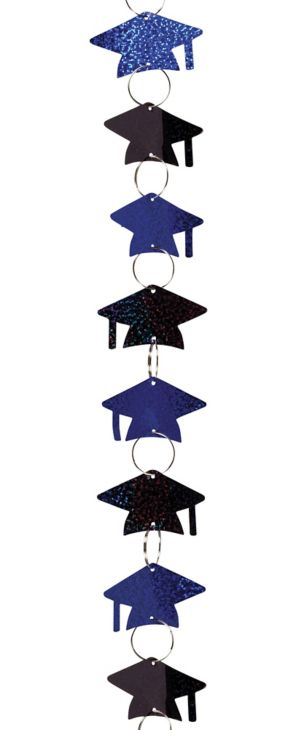 Black & Blue Grad Cap Graduation Ring Garland