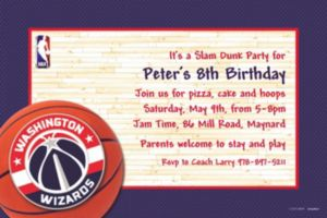 Custom Washington Wizards Invitations