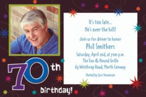 Custom The Party Continues 70th Photo Invitations