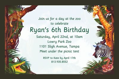 Custom Jungle Safari Invitations