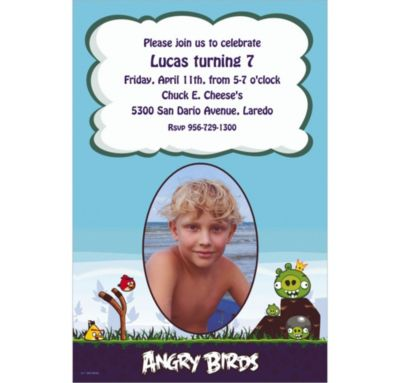 Custom Angry Birds Photo Invitations