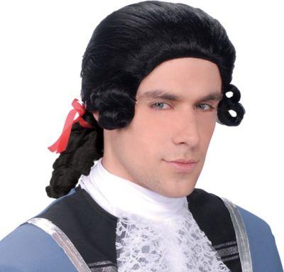 Men's Black Colonial Wig