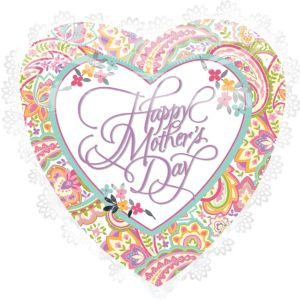 Foil White Trim Mother's Day Heart Balloon 27in