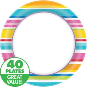 Striped Border Dinner Plates 40ct