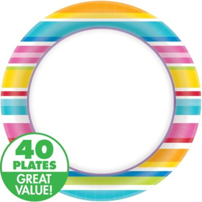 Striped Border Dinner Plates 40ct