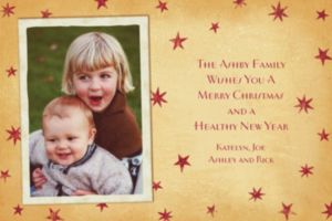 Custom Vintage Holiday Stars Christmas Photo Card
