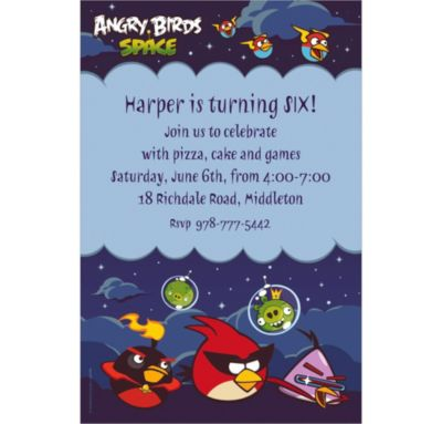 Custom Angry Birds Space Invitations