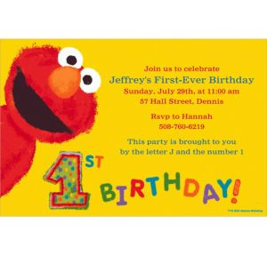 Custom Elmo 1st Birthday Invitations