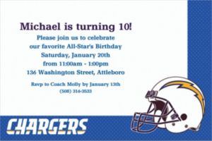 Custom San Diego Chargers Invitations