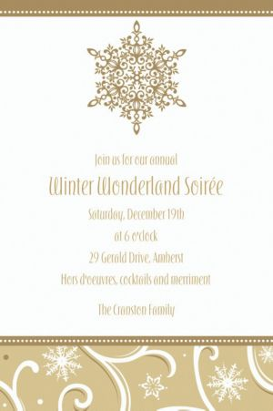 Custom Shimmering Snowflake Invitations