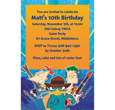 Phineas & Ferb Custom Invitation