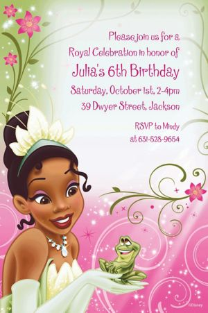 Custom Princess and the Frog Tiana Invitations
