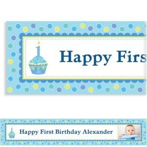 Custom Sweet Little Cupcake Boy Photo Banner 6ft