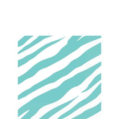 Robin's Egg Blue Zebra Print Beverage Napkins 16ct