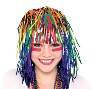 Rainbow Tinsel Wig