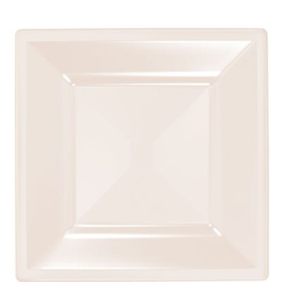 Off-White Premium Plastic Square Lunch Plates 10ct