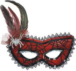 Spider Web Feather Masquerade Mask