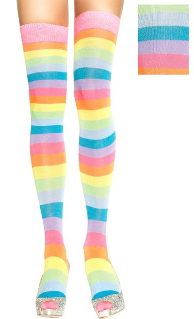 Adult Neon Rainbow Thigh High Stockings