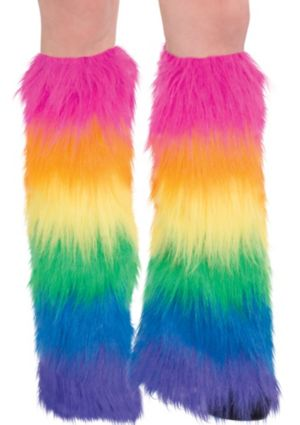 Ravewear Rainbow Furry Leg Warmers