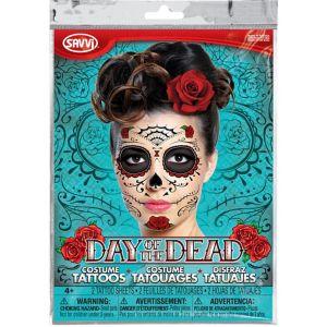 Sugar Skull Face Tattoos 2 Sheets